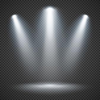 Iluminación de escena con iluminación brillante de focos