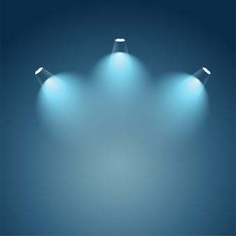 Iluminación luminosa con focos.
