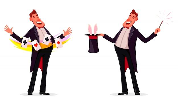 Ilusionista muestra trucos mágicos.