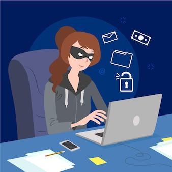 Se ilustra la actividad de hackers de diseño plano