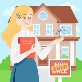 Se ilustra la colorida asistencia de un agente inmobiliario