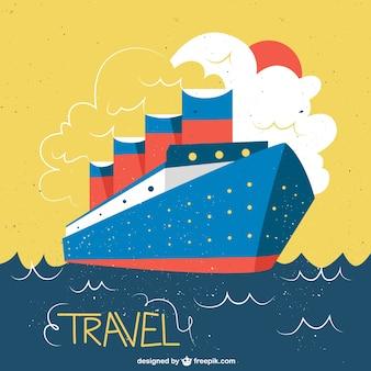 Ilustracióm de barco en un estilo vintage