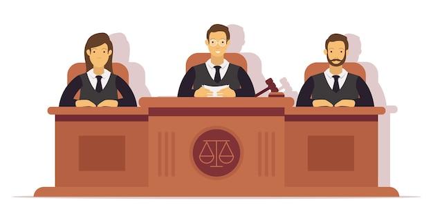 Ilustración de 3 jueces realizando un juicio