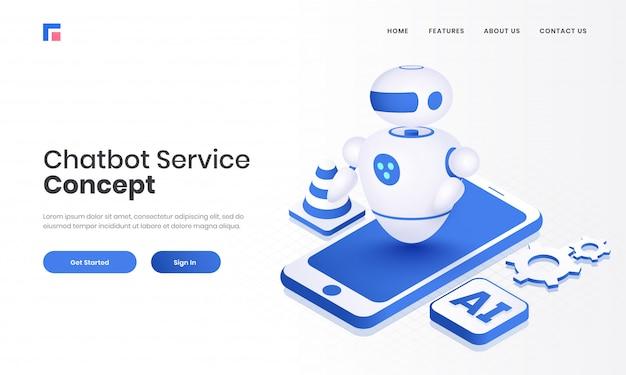 Ilustración 3d de android robot en el teléfono inteligente con chip ai para el diseño de página de aterrizaje basado en el concepto chatbot service.