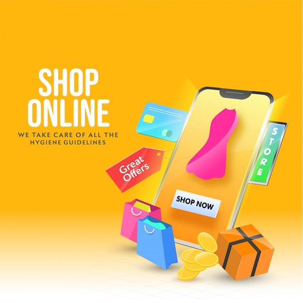 Ilustración 3d de la aplicación de compras en línea en el teléfono inteligente con vestido femenino, etiqueta de gran oferta, bolsas de transporte, tarjeta de pago, monedas y caja de paquete sobre fondo naranja.
