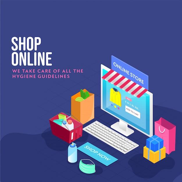 Ilustración 3d de la aplicación de la tienda en línea en el escritorio con teclado, cesta llena de productos, bolsa de transporte, máscara médica, botella de desinfectante y cajas de regalo sobre fondo azul.