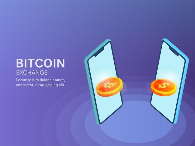Ilustración 3d de bitcoin exchange to dollar desde smartphone sobre fondo azul para el concepto de cryptocurrency.