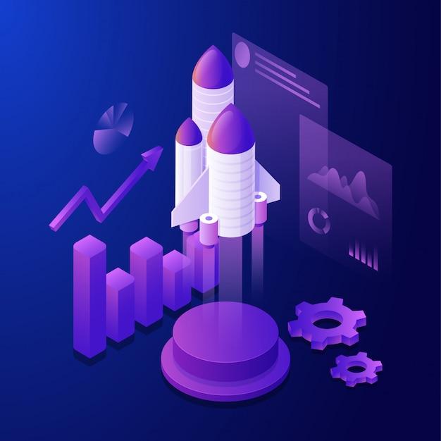 Ilustración 3d de cohete con elementos infográficos y pantalla múltiple