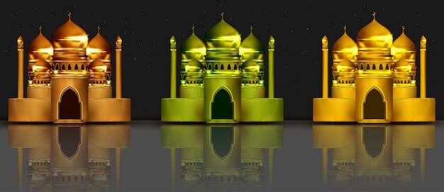 Ilustración 3d de colección de mezquita