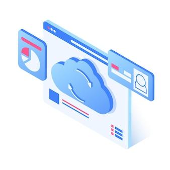 Ilustración 3d del concepto de almacenamiento en la nube de la página web con estadísticas de datos personales en la nube