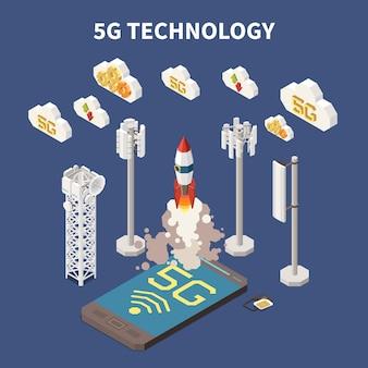 Ilustración 3d del concepto isométrico de la tecnología de internet 5g