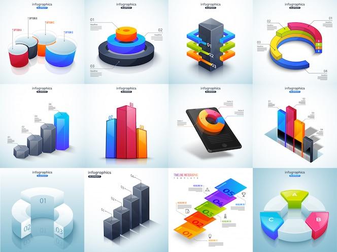 Ilustración 3d del colorido conjunto de timeline infographic