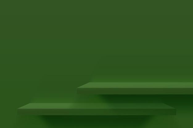 Ilustración 3d de estantes vacíos verdes en la pared verde. diseño de fondo mínimo para la presentación del producto.