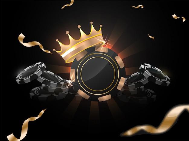 Ilustración 3d de fichas de casino con corona de premio sobre fondo de rayos negros decorado con cinta de confeti dorado.