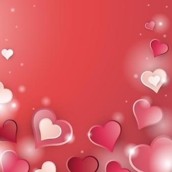 Ilustración 3d de fondo de corazones para el día de san valentín