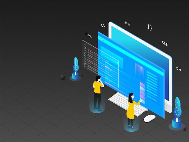 Ilustración 3d del hombre y la mujer que trabajan en la computadora