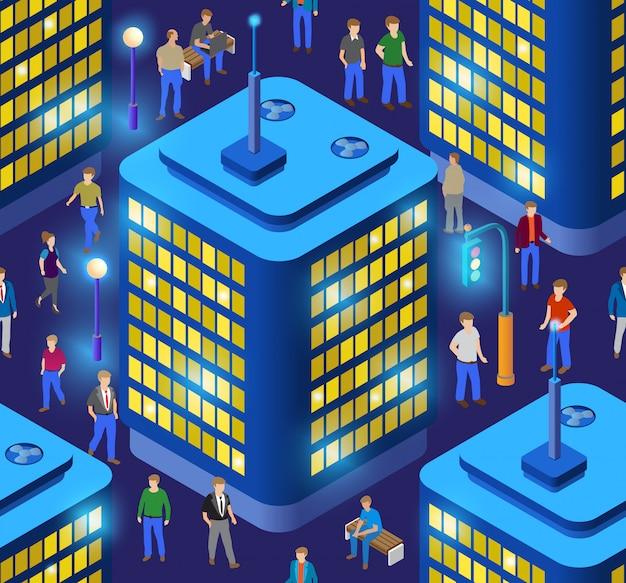 Ilustración 3d inteligente ciudad de repetición perfecta en un púrpura