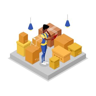 Ilustración 3d isométrica de la compañía de entrega