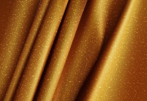Ilustración 3d de tela sedosa dorada de lujo realista