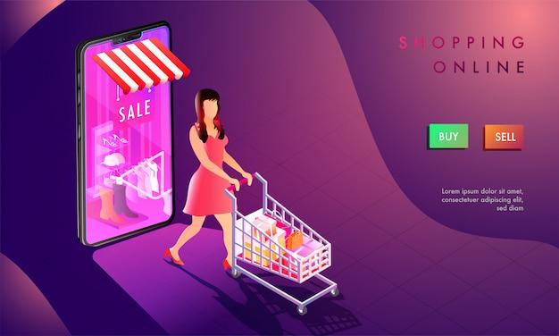 Ilustración 3d de la tienda de la mujer en línea.