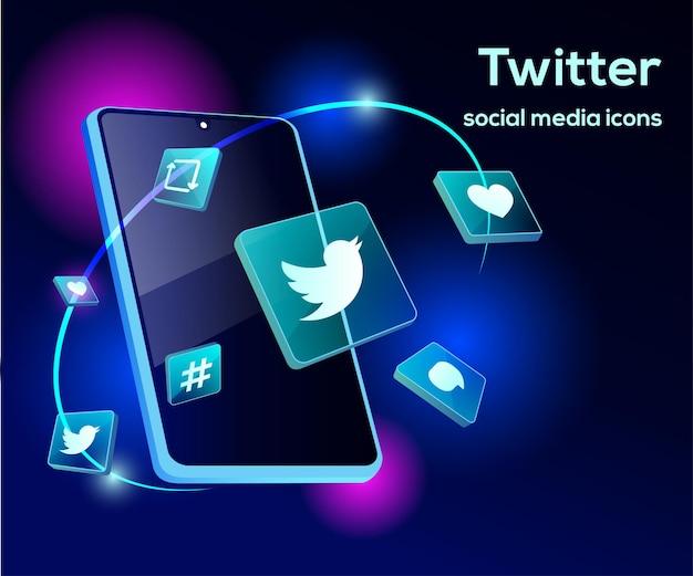 Ilustración 3d de twitter con sofisticados iconos y teléfonos inteligentes
