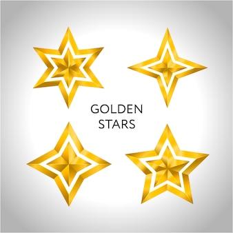 Ilustración de 4 estrellas doradas icono de navidad vacaciones de año nuevo 3d