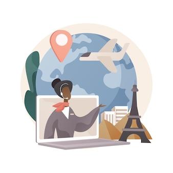 Ilustración abstracta de agente de viajes.