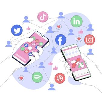 Ilustración abstracta de aplicaciones de redes sociales