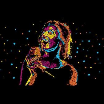 Ilustración abstracta del cantante para el cartel de la música