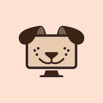 Ilustración abstracta cara de perrito en la plantilla de diseño de logotipo de tecnología informática de monitor