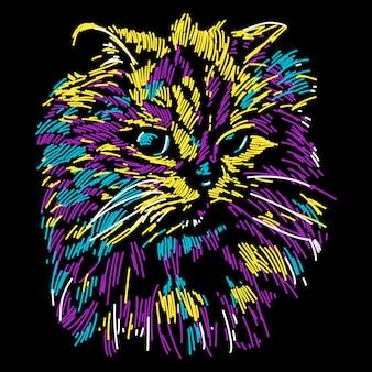 Ilustración abstracta colorida adorable del gato