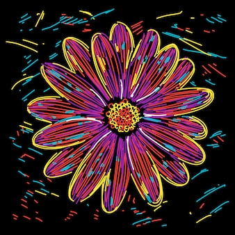 Ilustración abstracta colorida flor
