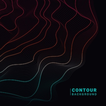 Ilustración abstracta colorida de las líneas de contorno