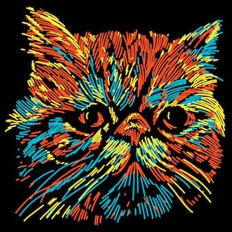 Ilustración abstracta colorida nariz plana gato