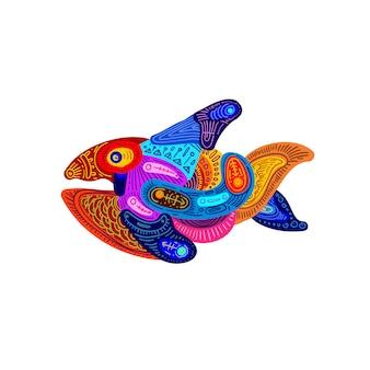 Ilustración abstracta colorido adorno de peces étnicos.