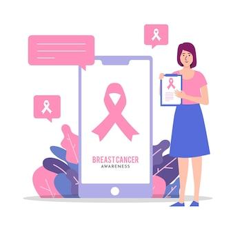 Ilustración abstracta del concepto de concienciación sobre el cáncer de mama