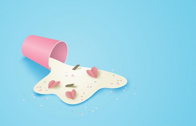 Ilustración abstracta concepto de día de san valentín en papel cortado estilo