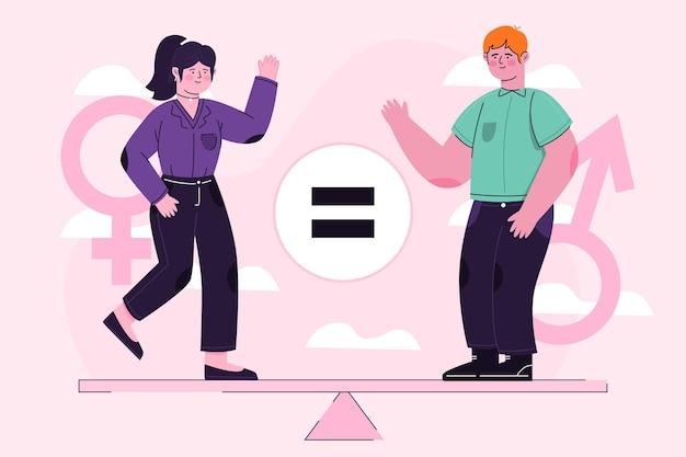 Ilustración abstracta del concepto de igualdad de género