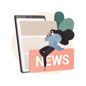 Ilustración abstracta de contenido móvil en estilo plano
