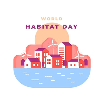 Ilustración abstracta del día mundial del hábitat