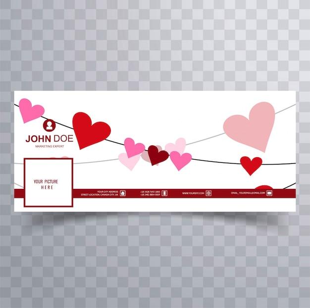 Ilustración abstracta del diseño de la cubierta del facebook del día de san valentín