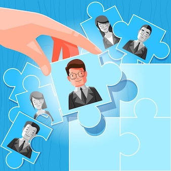 Ilustración abstracta de elección del concepto de trabajador