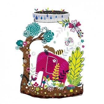 Ilustración abstracta con un elefante