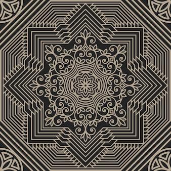 Ilustración abstracta geométrica y floral