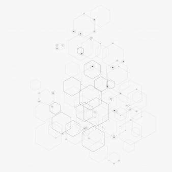 Ilustración abstracta con hexágonos, líneas y puntos en blanco. hexágono infografía. tecnología digital, ciencia o medicina.