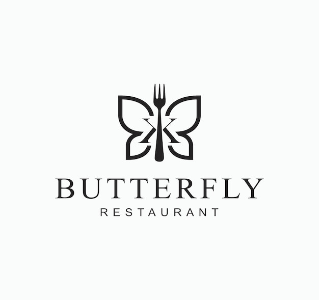 Ilustración abstracta insecto mariposa con símbolo de diseño de signo de restaurante de tenedor
