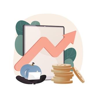 Ilustración abstracta de inversión de marketing en estilo plano