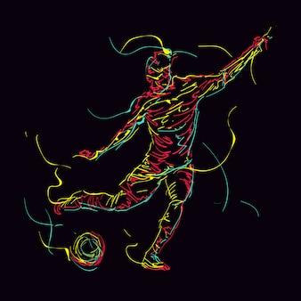 Ilustración abstracta del jugador de fútbol