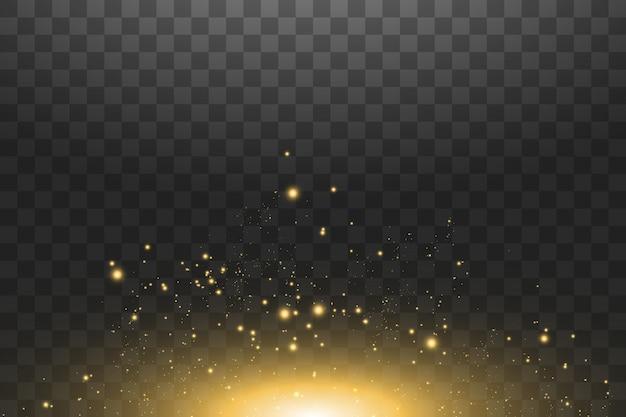 Ilustración abstracta de onda de brillo de nube dorada. rastro de polvo de estrellas blancas partículas brillantes aisladas sobre fondo transparente. concepto mágico