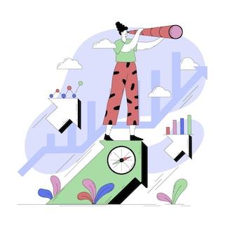Ilustración abstracta de persona con elementos de marketing ilustrados